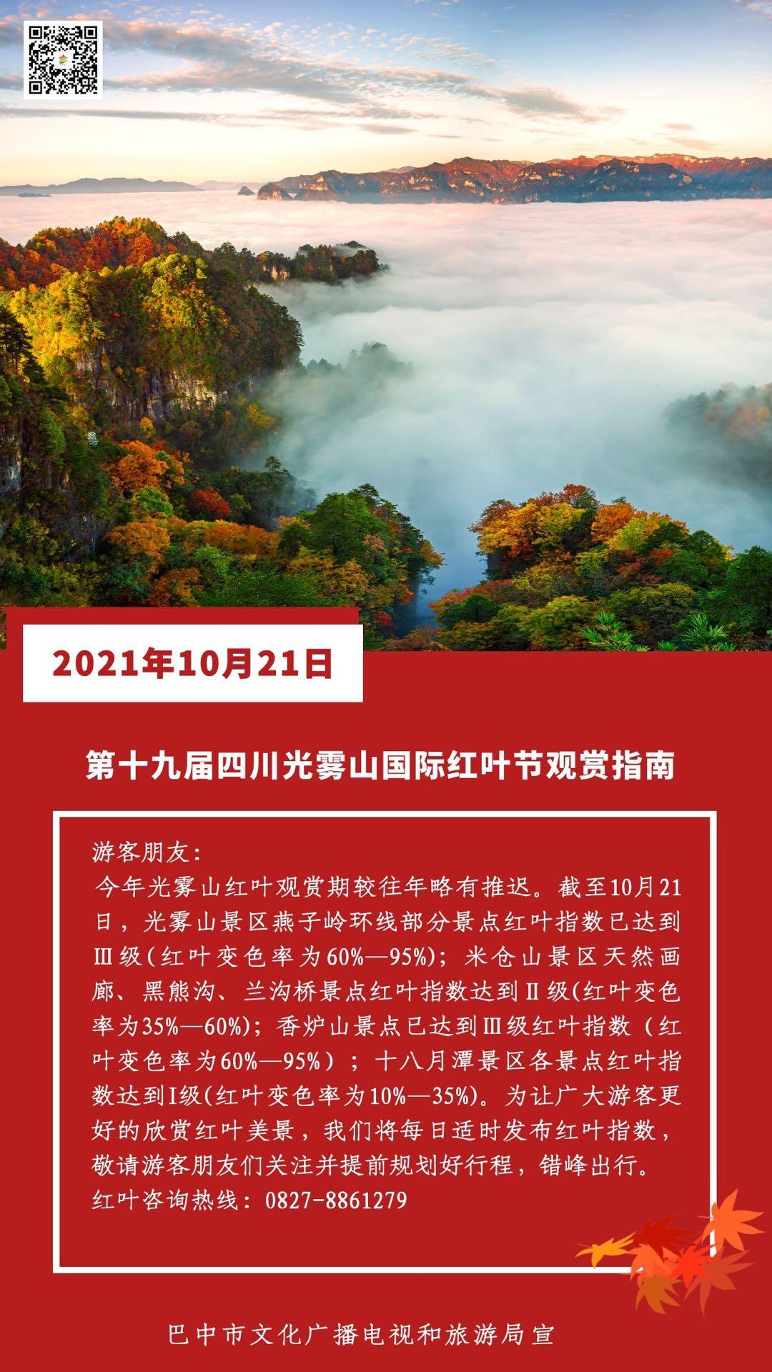 第十九届四川光雾山国际红叶节丨今日红叶指数